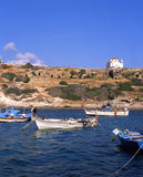 The bay. Fishing boats in a bay in southern Cyprus stock photography