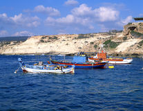The bay. Fishing boats in a bay in southern Cyprus royalty free stock image