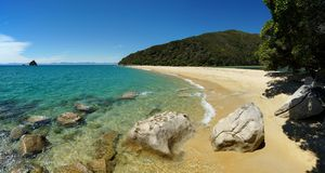 Bay at Abel Tasman National Park in New Zealand stock photos