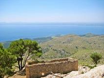 Bay of Alcudia, Majorca, Spain. View from mountain peak of peninsula Victoria towards Golf Club Alcanada Stock Photography