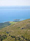 Bay of Alcudia, Majorca, Spain. View from mountain peak of peninsula Victoria towards Golf Club Alcanada Royalty Free Stock Photography
