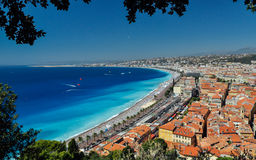 Bay of Angels French Riviera. Fantastic view of baie des anges in Nice Royalty Free Stock Images