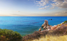 Bay of Aphrodite. Paphos, Cyprus. Bay of Aphrodite is famous attraction of Cyprus were located between Limassol and Paphos. large stones from ancient times Royalty Free Stock Photography