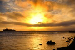 Bay Area του Σαν Φρανσίσκο στο ηλιοβασίλεμα Στοκ Εικόνες