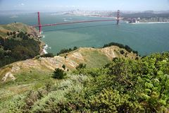 The Bay Area. Golden Gate Bridge and San Francisco from the Marin Headlands Royalty Free Stock Photo