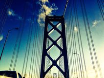 BAY AREA BRIGE. Sf sunset view of royalty free stock photo