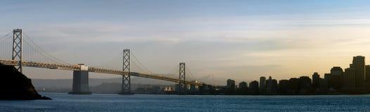 Bay area, California. Bay bridge and San Francisco silhouettes Stock Images