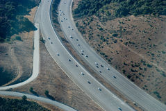 Bay Area Freeway 280 from the. This is freeway 280 in San Francisco bay area. This photograph was taken from a cessna plane at 2000 feet stock photo