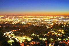 Bay Area. Long exposure shot of the East San Francisco Bay Area taken from high up in the hills at night Stock Photography