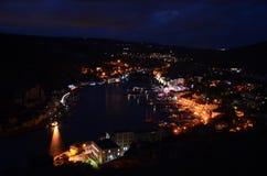 The Bay of Balaklava at night. Lights of Balaklava after dark royalty free stock images
