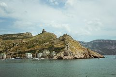 The Bay of Balaklava and the Ruins of Genoese fortress Cembalo. Balaklava, Crimea. beautiful seascape.  royalty free stock photography