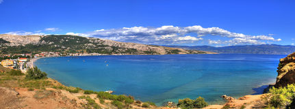 Bay of Baska - beautiful long beach royalty free stock photography