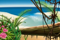 Bay Beach. Tropical background, hand drawn Royalty Free Stock Images