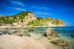 Bay at the beach Isola Bella. Bay at the famous beach Isola Bella at Sicily, Italy royalty free stock photography