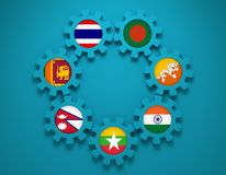 Bay of Bengal Initiative for Multi-Sectoral Technical and Economic Cooperation members national flags on gears. Bay of Bengal Initiative for Multi-Sectoral Stock Image