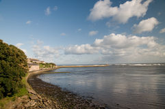 The bay at berwick. The view of the sea from the town walls of berwick-on-tweed in england Royalty Free Stock Images