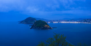 Bay of Biscay, Concha beach at night, city of Donostia Stock Images