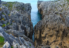 Bay of Biscay rocky coast, Spain. Royalty Free Stock Images