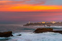 Bay of Biscay in Biarritz, France. Bay of Biscay at sunset, Biarritz in France stock images