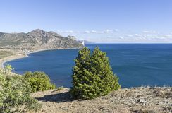Bay on the Black Sea coast of Crimea. Neighborhood ofthe Veseloye village. Sunny day in September royalty free stock photos