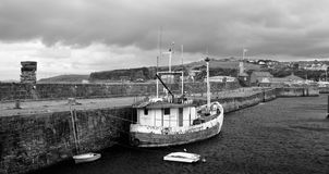 Bay, Black-and-white, Boat Royalty Free Stock Photos