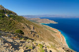 Bay with blue lagoon on Crete. Amazing bay view with blue lagoon on Crete, Greece Royalty Free Stock Photo