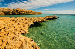 Bay with blue water in Ras Muhammad National Park in Sinai Egypt Royalty Free Stock Images