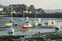 Bay with boats and houses on the shore Stock Images