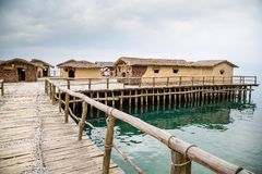 The Bay of the Bones,  Macedonia. The Bay of the Bones the reconstructed site of a prehistoric settlement at Lake Ohrid, Republic of Macedonia Royalty Free Stock Photos