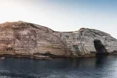 Bay of Bonifacio, coastal rocks with big grotto Stock Photo