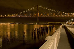 Bay Bridge. And Embarcadero at Night Stock Photos