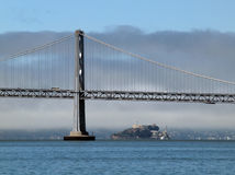 Bay Bridge and Alcatraz Island Stock Image