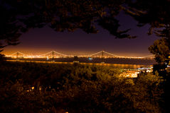 Bay Bridge from Coit Tower. Bay Bridge light up at night from Coit Tower, San Francisco stock images