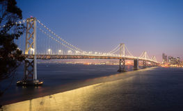 Bay Bridge Crossing San Francisco Skyline Pacific West Coast Stock Image