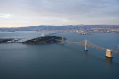 Bay bridge from helicopter Royalty Free Stock Image