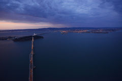 bay bridge from helicopter Royalty Free Stock Photos