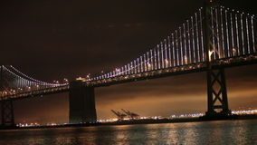 Bay Bridge Lights, San Francisco and Oakland stock video footage