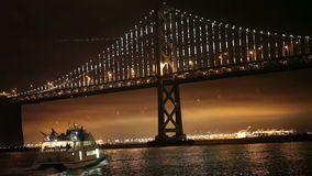 Bay Bridge Lights, San Francisco and Oakland stock footage