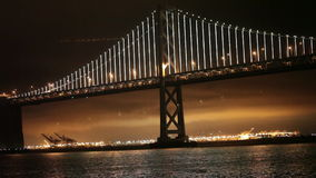 Bay Bridge Lights, San Francisco and Oakland stock video