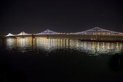 Bay Bridge. New lights illuminate the Bay Bridge connecting San Francisco and Oakland over San Francisco Bay in California Royalty Free Stock Image