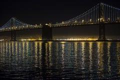 Bay Bridge. New lights illuminate the Bay Bridge connecting San Francisco and Oakland over San Francisco Bay in California Royalty Free Stock Photography