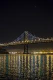Bay Bridge. New lights illuminate the Bay Bridge connecting San Francisco and Oakland over San Francisco Bay in California Stock Photography