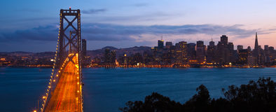 Bay Bridge at Night. San Francisco skyline and Bay Bridge at night seen from Treasure Island Royalty Free Stock Image