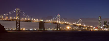 Bay Bridge at Night Stock Images