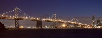 Bay Bridge at Night. Bay Bridge between Treasure Island and San Francisco Stock Images