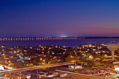 Bay Bridge at Night. Night scene of Ocean City, Maryland and bay bridge stock image
