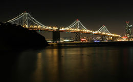 Bay bridge at night. With san francisco in the background Stock Image