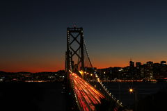 Bay Bridge at night San Francisco. View of Bay Bridge at night, San Francisco Royalty Free Stock Image