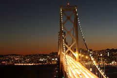 Bay Bridge at night San Francisco. View of Bay Bridge at night, San Francisco Stock Photography