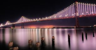 Bay bridge. Night shot of Bay bridge royalty free stock photo